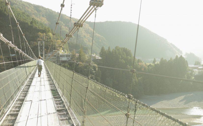 谷瀬の吊り橋-路線バスの休憩時間に渡ってみた-十津川村旅行記